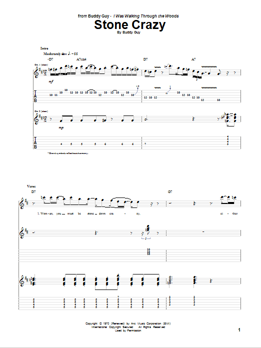 Stone Crazy (Guitar Tab)