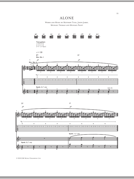 Alone Sheet Music Bullet For My Valentine Guitar Tab