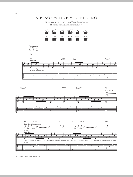 Tablature guitare A Place Where You Belong de Bullet For My Valentine - Tablature Guitare