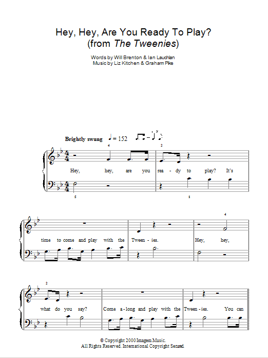 Hey, Hey, Are You Ready To Play? (theme from The Tweenies) Sheet Music