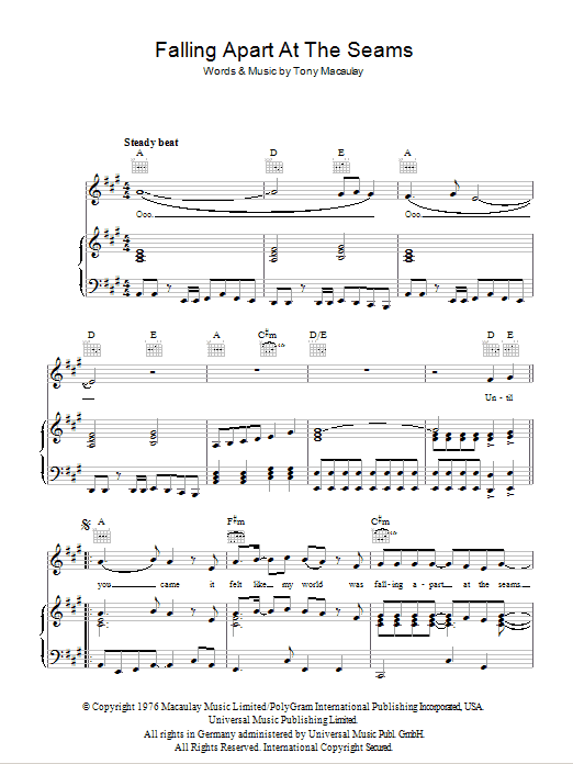 Falling Apart At The Seams Sheet Music