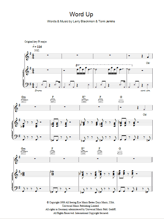 Word Up Sheet Music
