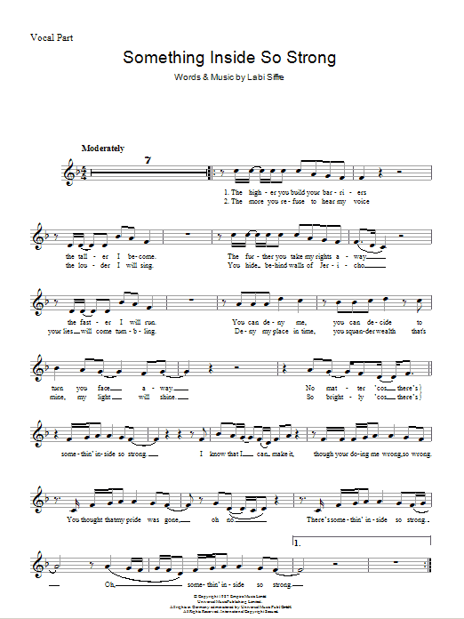 (Something Inside) So Strong Sheet Music