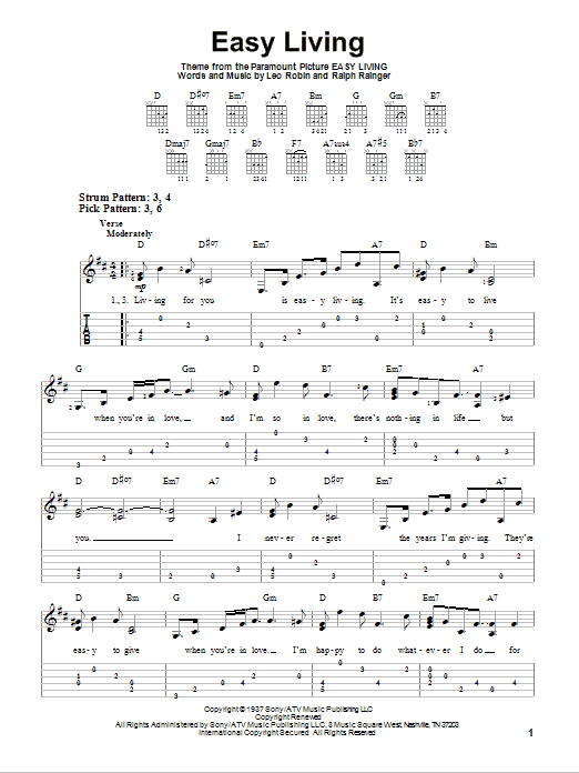 Tablature guitare Easy Living de Billie Holiday - Tablature guitare facile