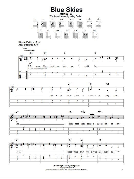Tablature guitare Blue Skies de Irving Berlin - Tablature guitare facile