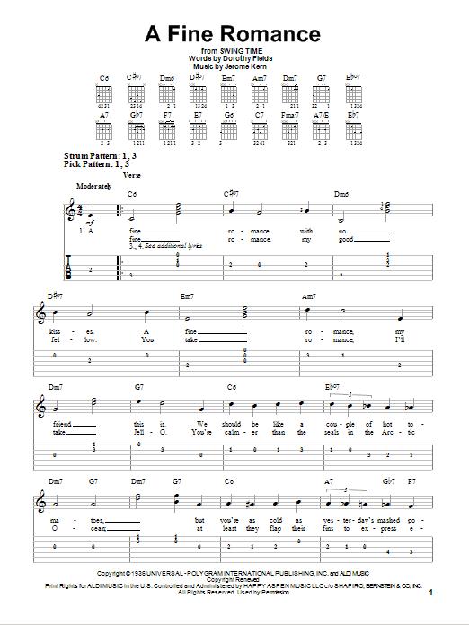 Tablature guitare A Fine Romance de Jerome Kern - Tablature guitare facile
