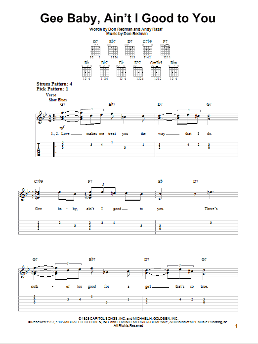 Gee Baby, Ain't I Good To You (Easy Guitar Tab)