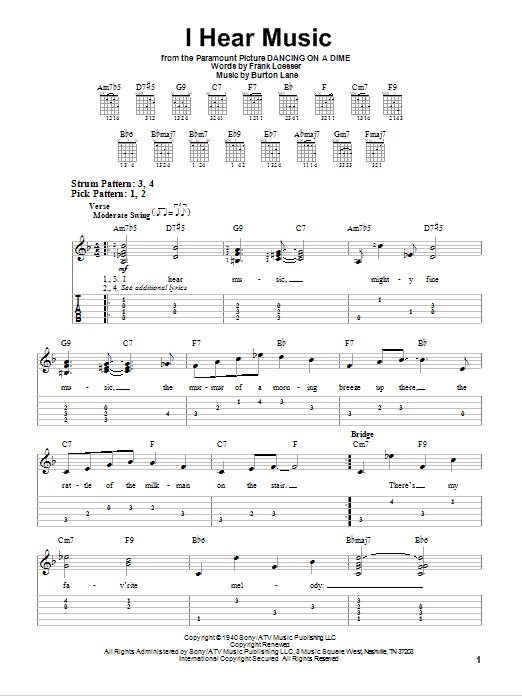 Tablature guitare I Hear Music de Frank Loesser - Tablature guitare facile