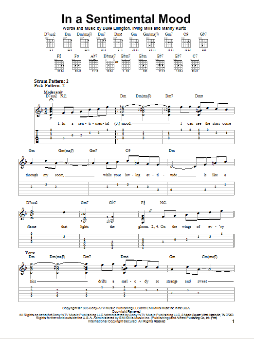 In A Sentimental Mood (Easy Guitar Tab)
