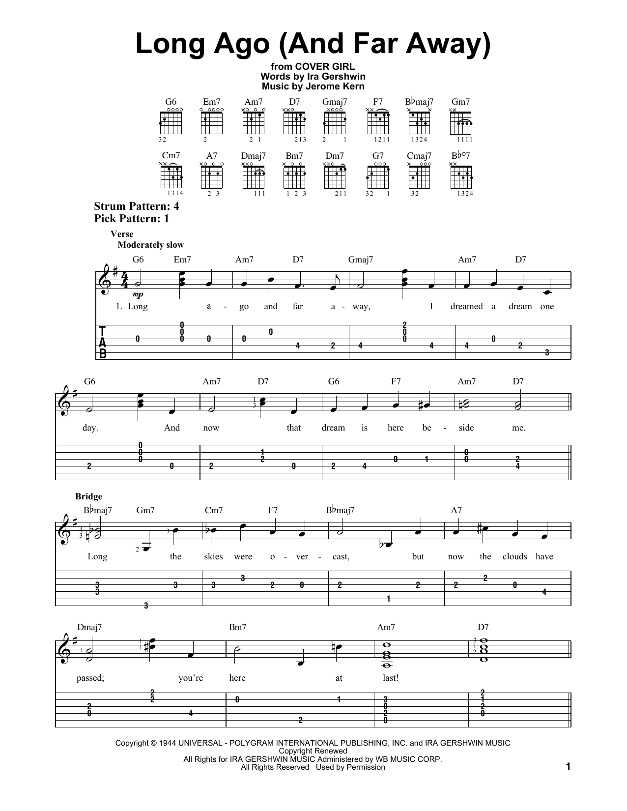 Tablature guitare Long Ago (And Far Away) de Jerome Kern - Tablature guitare facile