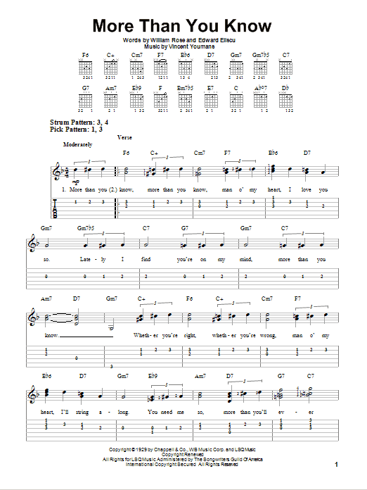 Tablature guitare More Than You Know de Helen Morgan - Tablature guitare facile