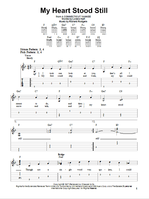 Tablature guitare My Heart Stood Still de Rodgers & Hart - Tablature guitare facile