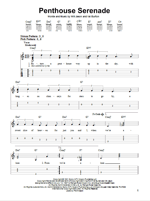 Tablature guitare Penthouse Serenade de Nat King Cole - Tablature guitare facile