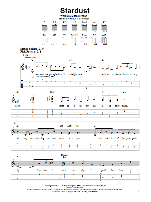 Tablature guitare Stardust de Hoagy Carmichael - Tablature guitare facile