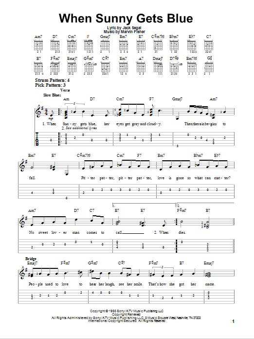 Tablature guitare When Sunny Gets Blue de Jack Segal - Tablature guitare facile