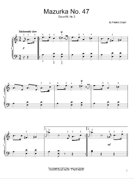 Partition piano Mazurka In A Minor, Op. 68, No. 2 de Frederic Chopin - Piano Facile