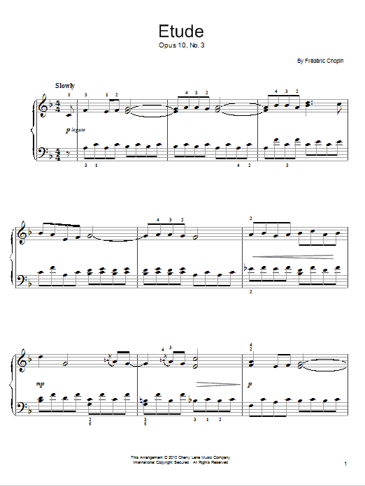 Etude  Op. 10, No. 3 Sheet Music