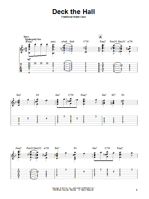 Tablature guitare Deck The Hall de Traditional Welsh Carol - Tablature Guitare