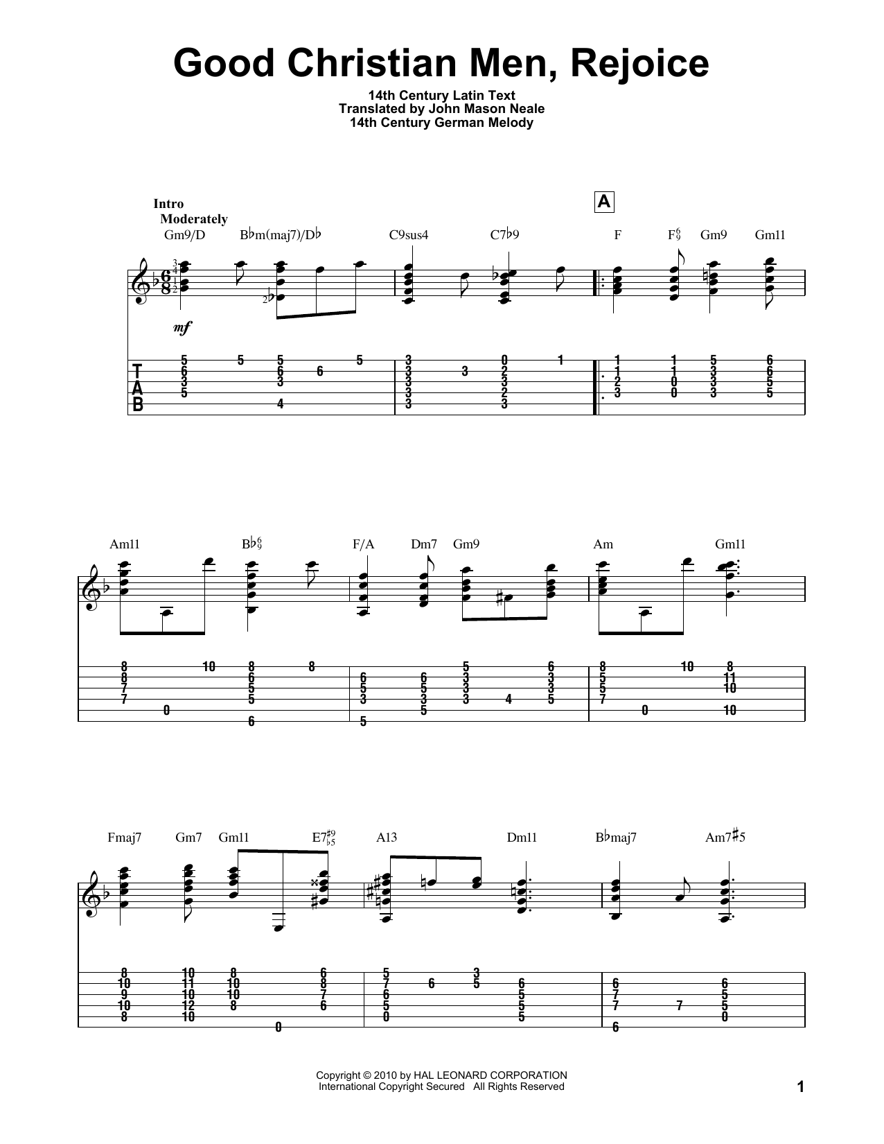 Tablature guitare Good Christian Men, Rejoice de John M. Neale - Tablature Guitare