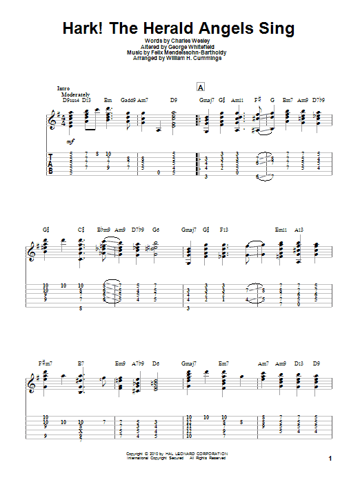 Tablature guitare Hark! The Herald Angels Sing de Charles Wesley - Tablature Guitare