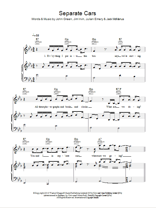 Separate Cars Sheet Music