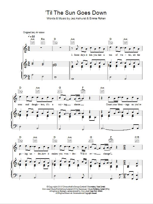'Til The Sun Goes Down Sheet Music