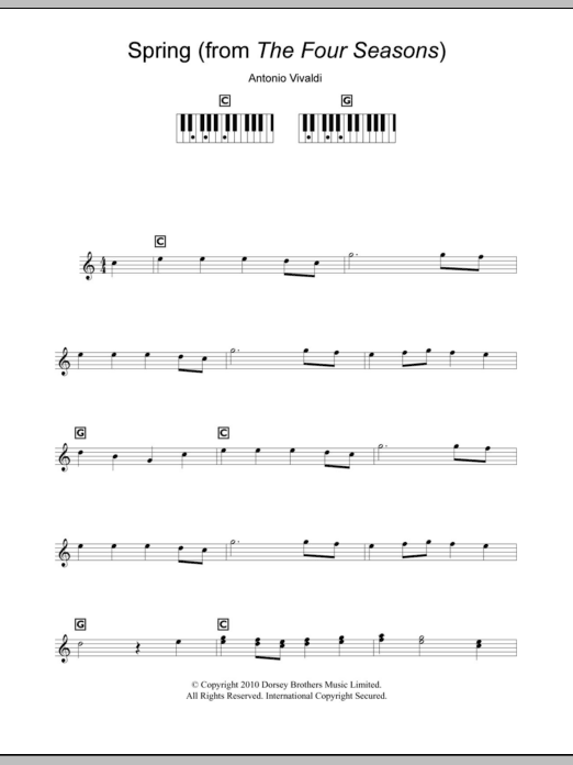 Spring From The Four Seasons By Antonio Vivaldi Keyboard Abridged Digital Sheet Music