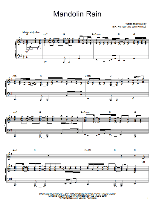 Mandolin Rain (Piano, Vocal & Guitar (Right-Hand Melody))