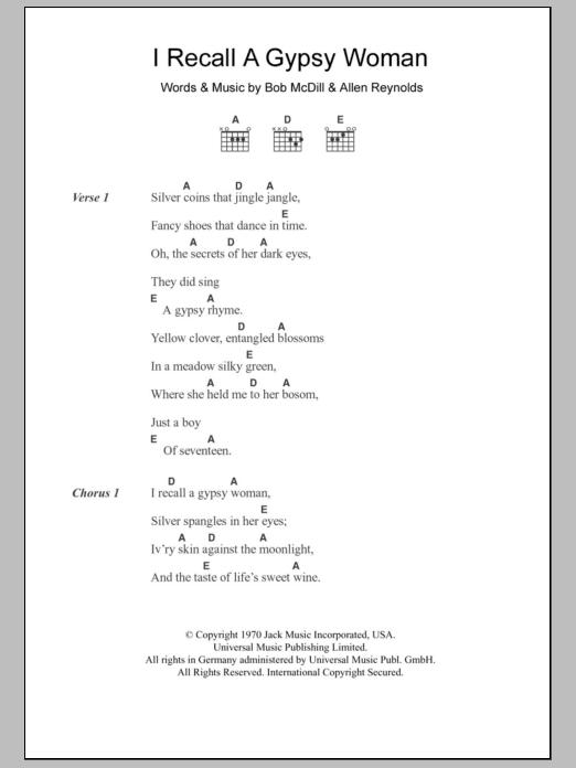 I Recall A Gypsy Woman by Don Williams - Guitar Chords/Lyrics ...