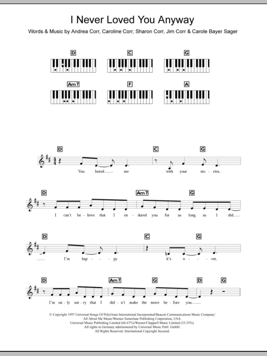I Never Loved You Anyway Sheet Music