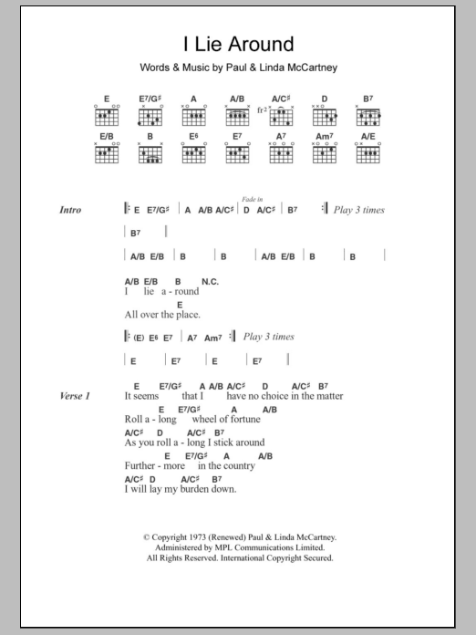 I Lie Around Sheet Music By Paul Mccartney Lyrics Chords 103104