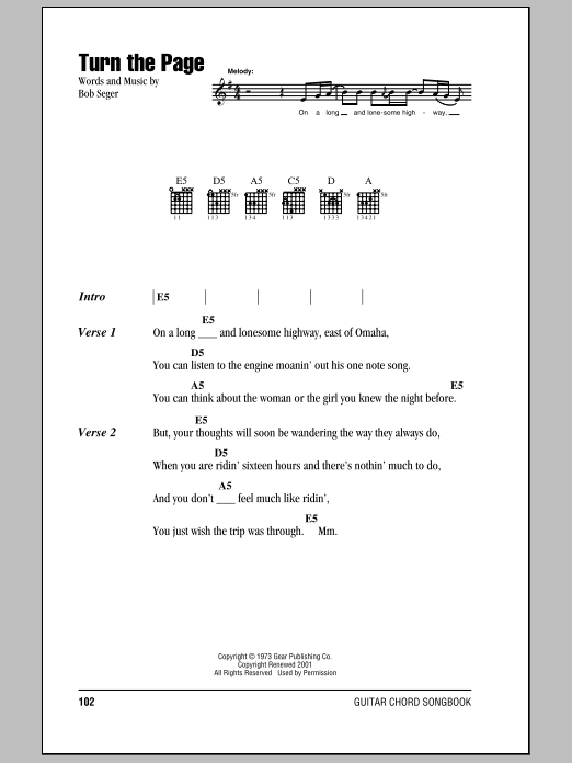 Turn The Page Sheet Music By Bob Seger Lyrics Chords 79663