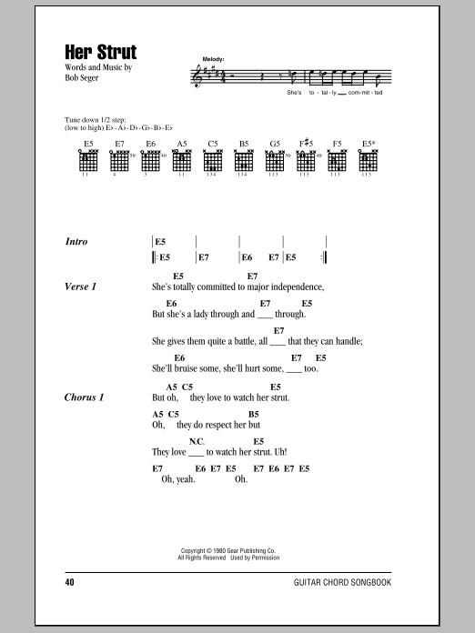 Her Strut By Bob Seger Guitar Chordslyrics Guitar Instructor