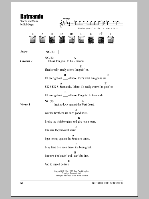 Katmandu (Guitar Chords/Lyrics)
