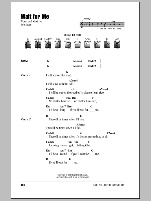 Wait For Me sheet music by Bob Seger (Lyrics & Chords – 79633)