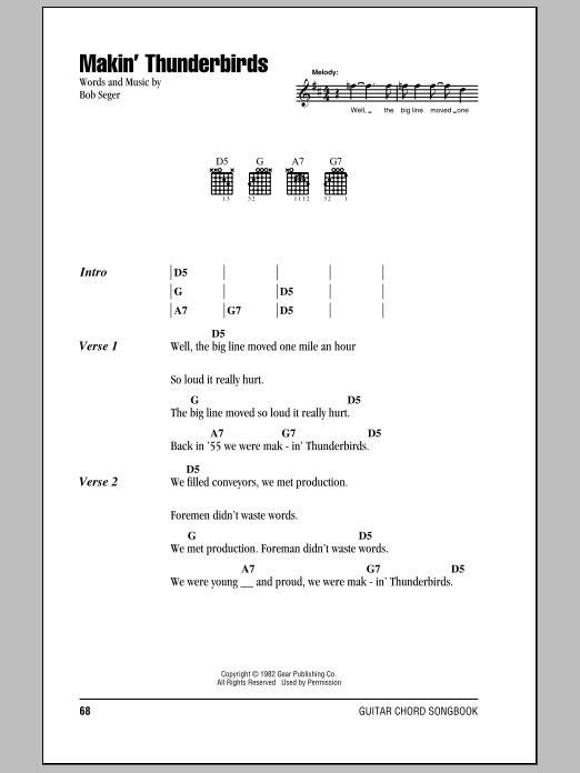 Makin' Thunderbirds (Guitar Chords/Lyrics)