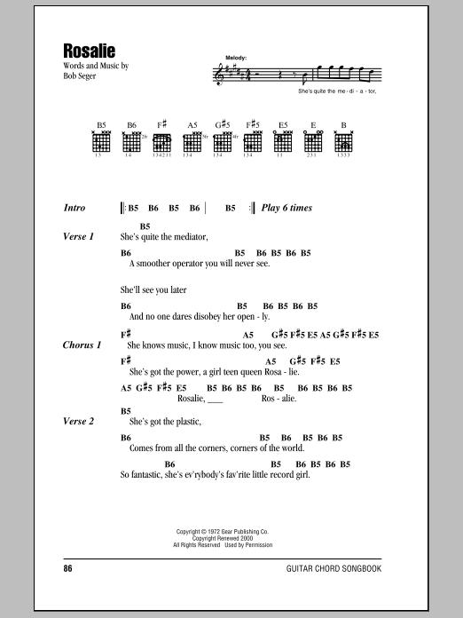 Rosalie sheet music by Bob Seger (Lyrics & Chords – 79638)