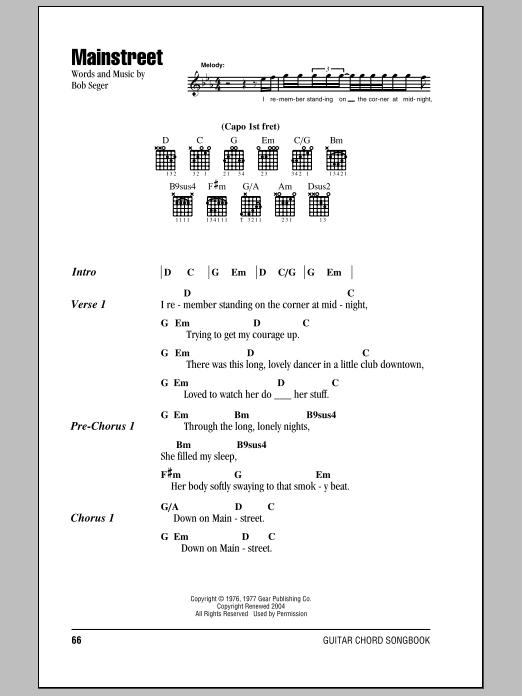 Mainstreet (Guitar Chords/Lyrics)