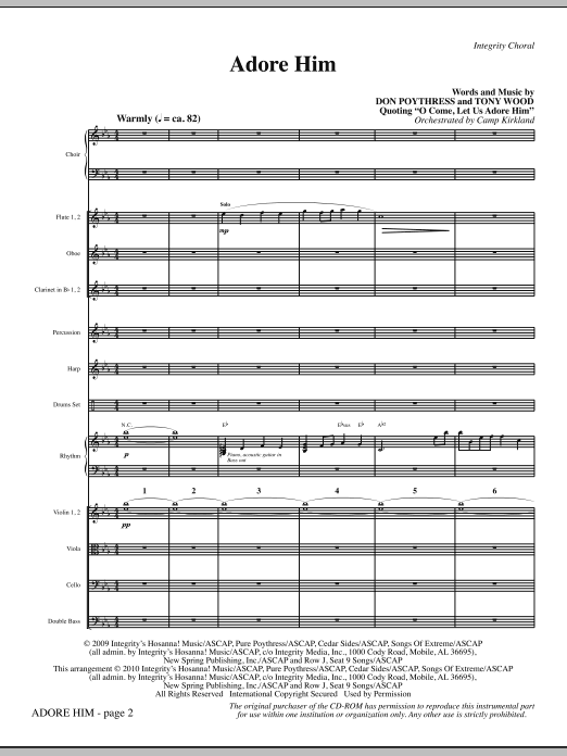 Adore Him - Full Score (Choir Instrumental Pak)