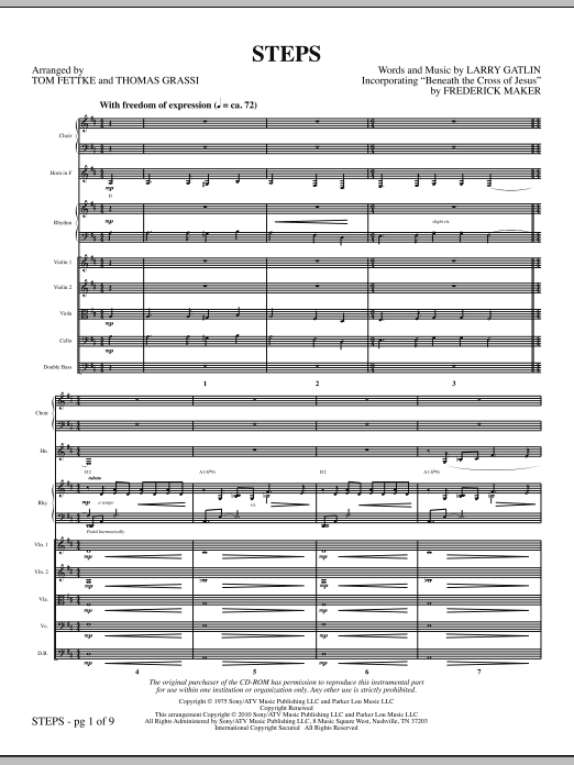Steps (complete set of parts) sheet music for orchestra/band (Strings) by Tom Fettke and Larry Gatlin. Score Image Preview.