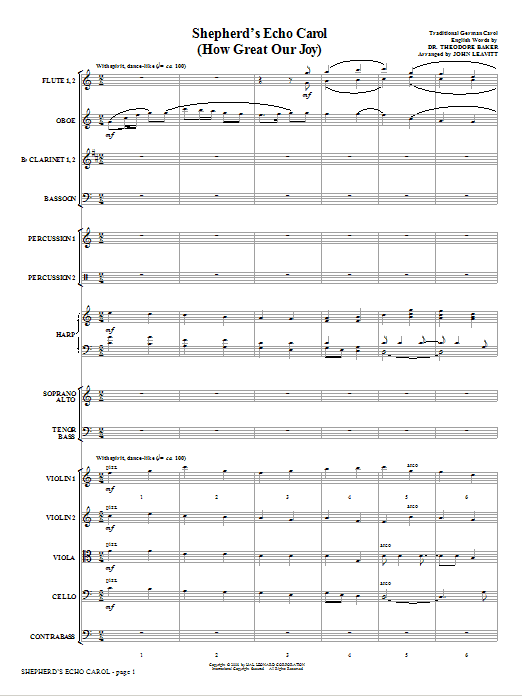 Shepherd's Echo Carol (How Great Our Joy) (complete set of parts) sheet music for orchestra/band (Orchestra) by John Leavitt. Score Image Preview.