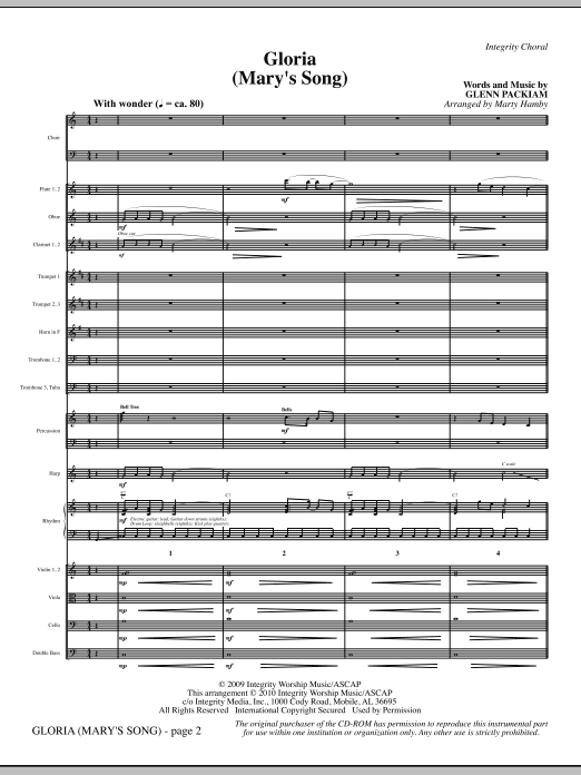 Gloria (Mary's Song) - Full Score Sheet Music