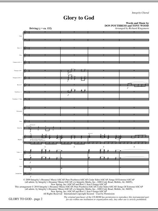 Glory To God - Full Score (Choir Instrumental Pak)