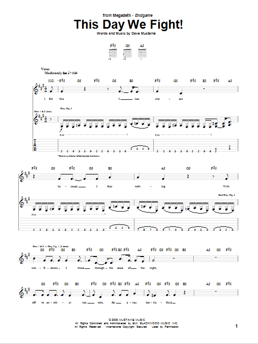 Tablature guitare This Day We Fight! de Megadeth - Tablature Guitare