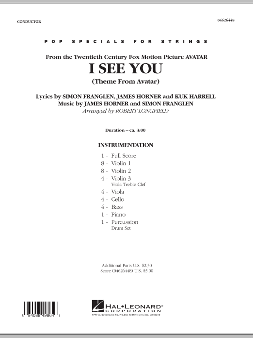 I See You (Theme from Avatar) (COMPLETE) sheet music for orchestra by Robert Longfield, James Horner and Simon Franglen. Score Image Preview.