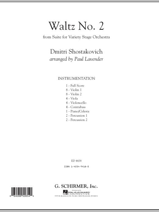 Waltz No. 2 - Conductor Score (Full Score) (Orchestra)