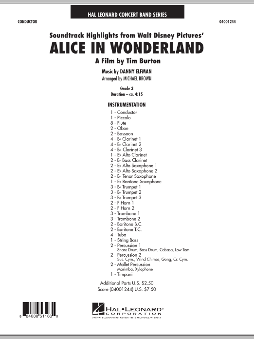 Alice In Wonderland, Soundtrack Highlights (COMPLETE) sheet music for concert band by Michael Brown and Danny Elfman. Score Image Preview.