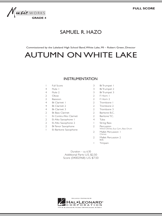 Autumn On White Lake (COMPLETE) sheet music for concert band by Samuel R. Hazo. Score Image Preview.