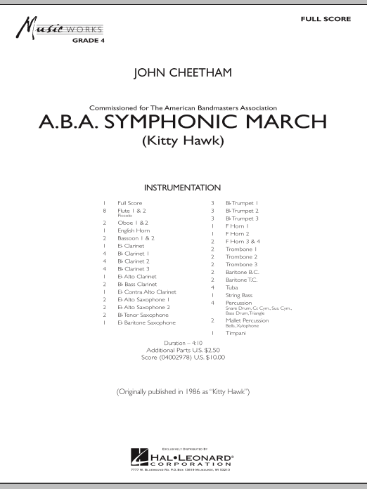 A.B.A. Symphonic March (Kitty Hawk) (COMPLETE) sheet music for concert band by John Cheetham. Score Image Preview.