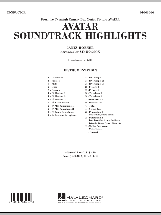 Avatar Soundtrack Highlights (COMPLETE) sheet music for concert band by Jay Bocook and James Horner. Score Image Preview.